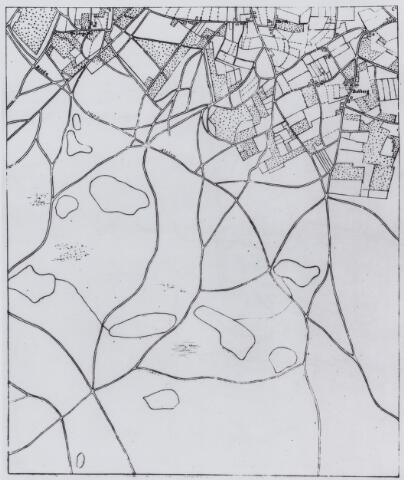 049196 - Kaart. Heidegebied tussen Alphen, Chaam en Gilze met de weg van Breda naar Alphen.