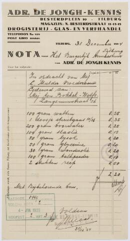 060416 - Briefhoofd. Nota van Adr. de Jongh-Kennis-Tilburg, Besterdplein10, Drogisterij Glas- en verfhandel. voor het burgerlijk Armbestuur van Tilburg