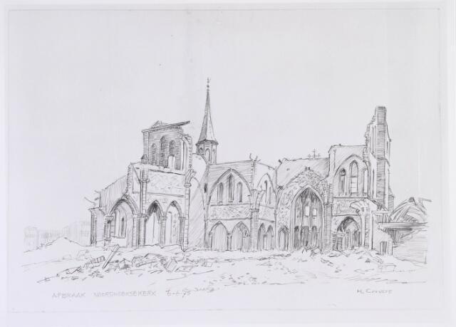 020104 - Tekening. Tekening van H. Corvers van de sloop van de Noordhoekse kerk