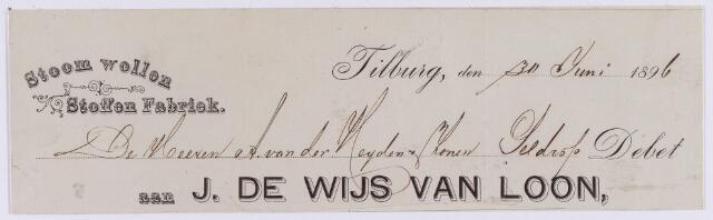 061448 - Briefhoofd. Nota van J. de Wijs van Loon, stoom wollen stoffen fabriek voor A. van der heijden & Zoon te Geldrop.