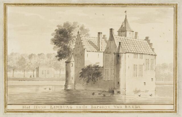 """068463 - Tekening. """"Het huys Limburg in de Baronie van Breda"""" door A. Schouman."""