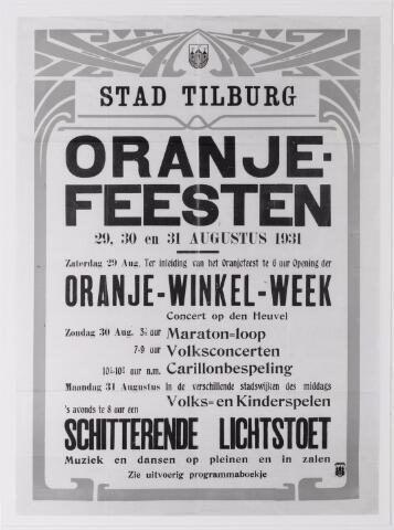 042606 - Aankondiging van Oranjefeesten in Tilburg ter gelegenheid van de verjaardag van koningin Wilhelmina in 1931