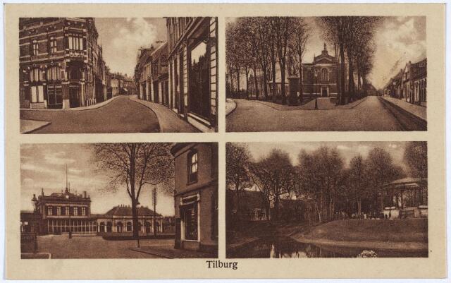 003141 - Bovenaan de Heuvelstraat met links de Willem II-straat en het Korvelplein met de voormalige parochiekerk. Onderaan het station aan de Spoorlaan gezien vanuit de Stationsstraat en het Wilhelminapark.