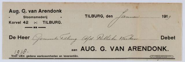 059494 - Briefhoofd. Rekening van Aug. G. van Arendonk, Stoomsmederij, Korvel 42 voor gemeente Tilburg afdeling Publieke werken