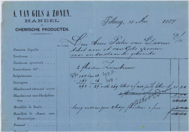 060156 - Briefhoofd. Nota van A. van Gils & Zonen, handel in Chemische producten, voor Pieter van Dooren