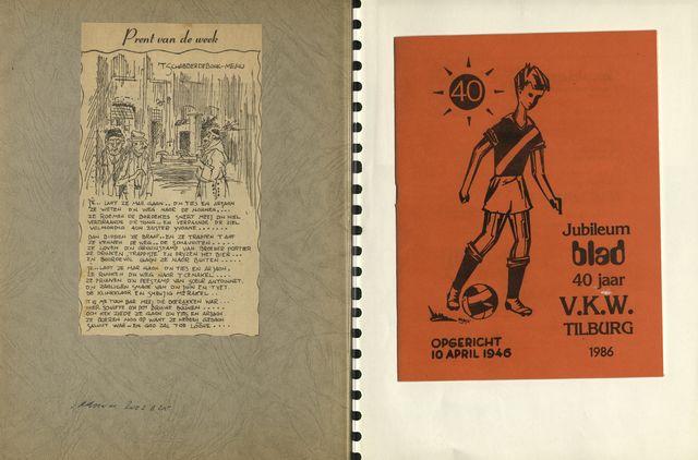 1608_005_ - Plakboek vol herinneringen. Voornamelijk documenten (brieven liedteksten), felicitaties  rondom de viering van jubilea: het 40-jarig jubileum van de voetbalclub VKW, het 10-jarig bestaan van het wijkwerk,