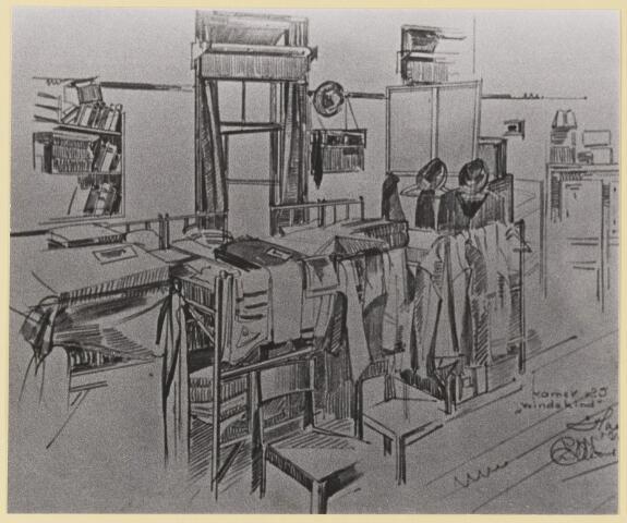 """077463 - Tweede wereldoorlog 1940-1945 Tekening van de gijzelaarskamer in het Groot Seminarie te Haaren. Kamer 25 """"windekind""""."""