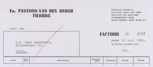060884 - Briefhoofd. Nota van Fa. Pastoor - van den Bergh Tilburg, Ringbaan-Noord 15 voor R.K. Oude dameshuis, Nieuwstraat 20 te Breda