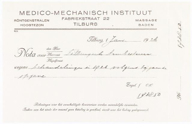 060680 - Briefhoofd. Nota van Medico-Mechanisch Instituut, röntgenstralen, hoogtezon en massage baden, Fabriekstraat 22 voor het Tilburgsch Armbestuur