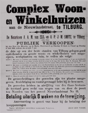 040618 - Bekendmaking van de openbare verkoop van een complex woon- en winkelhuizen te Tilburg door de notarissen Van Eijl en Smitz te Tilburg 1920.
