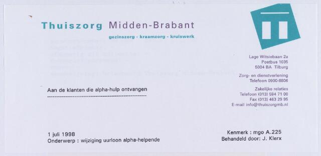 061262 - Briefhoofd. Briefhoofd van Thuiszorg Midden-Brabant, Lage Witsiebaan 2a