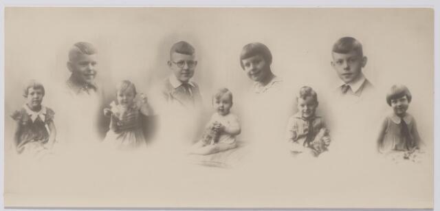 045202 - De kinderen van Thomas J.M. Thijs, eigenaar van een katoenververij, en Lisette C.L. Swagemakers. Zij woonden in Tilburg aan het St. Annaplein 2. Op de eerste rij v.l.n.r. Anna M.Th. (Annie) geboren te Tilburg op 6.2.1927, Cecilia L.M.Th. (Ciel) geboren te Tilburg op 30.3.1931, Wilhelmus J.H. (Willem) geboren te Tilburg op 19.9.1932, Carolus Th.M. (Karel) geboren te Tilburg op 27.9.1929, en Louise L.M. (Wies) geboren te Tilburg op 24.7.1928. Op de bovenste rij v.l.n.r. Henricus J.H. (Henri) geboren te Tilburg op 2.11.1925, Joannes A.C.A. (Jan) geboren te Tilburg op 4.7.1922, Maria W.A. (Ria) geboren te Tilburg op 18.10.1924 en Hermanus A.M.J. (Herman) geboren te Tilburg op 4.7.1923.
