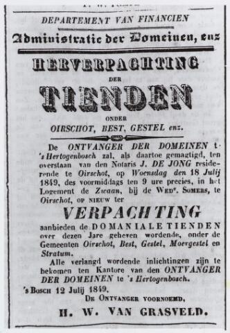 057045 - Advertentie betreffende de herverpachting van de tienden, o.a. te Moergestel, in de Noord-Brabander van 14 juli 1849.