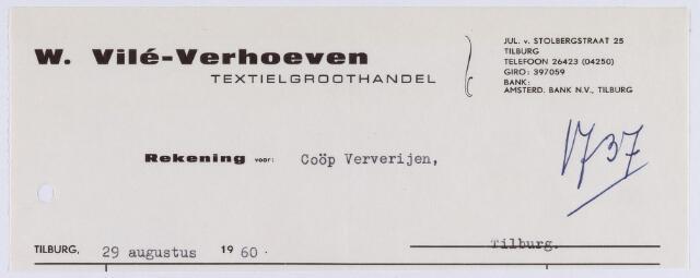 061351 - Briefhoofd. Nota van W. Vilé-Verhoeven, textielgroothandel, Jul. van Stolbergstraat 25 voor Coöp. Ververijen