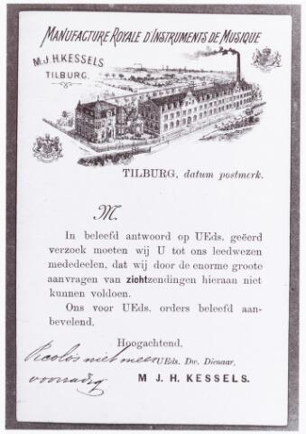 060460 - Briefhoofd. Briefhoofd van Kessels' Vereenigde Muziek-instrumenten Fabrieken, Industratiestraat 46, voorheen M.J.H. Kessels en Kessels' muziekinstrumeneten fabriek