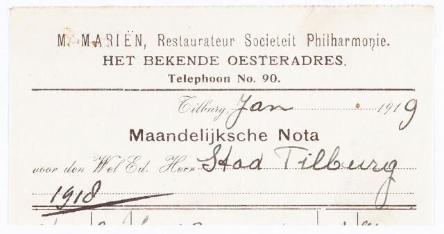 """060656 - Briefhoofd. Nota van M. Mariën, restaurateur societeit """"Philharmonie"""" voor de gemeente Tilburg"""