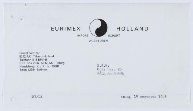 060065 - Briefhoofd. Nota van Eurimex Holland, Purcelldreef 97 voor B.S.W. Oude Baan 25 te Breda