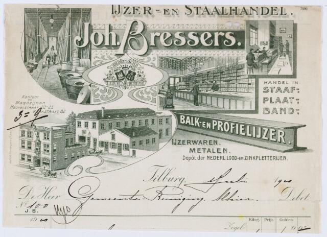 059725 - Briefhoofd. Nota van IJzer- en Staalhandel Joh. Bressers voor gemeente reiniging Tilburg