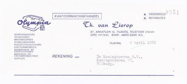 060582 - Briefhoofd. Nota van th. van Lierop, schijfmachinahandel Olympia, Lange Nieuwstraat 65, voor Coöp. Ververijen UA, Koningshoeven 77.