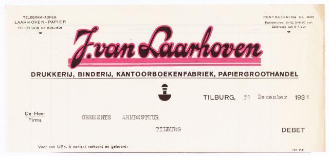 060549 - Briefhoofd. Nota van J van Laarhoven, Electrische drukkerij, kantoorboekenfabriek, boekbinderij en papierhandel, Wilhelminapark 7 voor gemeente Armbestuur van Tilburg