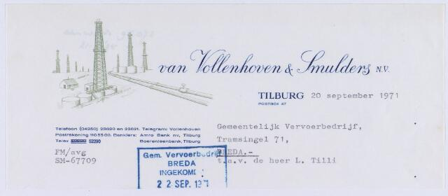 061365 - Briefhoofd. Nota van N.V. Oliehandel v/h Van Vollenhoven & Smulders voor gemeentelijke vervoerbedrijf te Breda