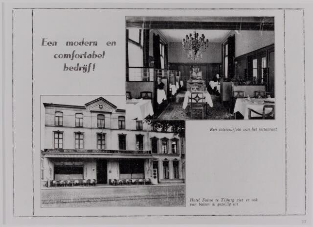 040598 - Hotel Suisse, Spoorlaan 114, hoek Langestraat. De familie Jorna was de uitbater van het gerenomeerde hotel. Een dochter trouwde met Mathieu Aelen textielfabrikant, zoon van Adriaan Aelen Noordstraat 15.