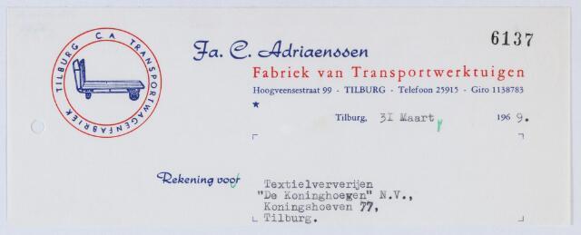 """059475 - Briefhoofd. Transportindustrie. Rekening van Fa. C. Adriaenssen, Fabriek van Transportwerktuigen, Hoogveensestraat 99, aan Textielververijen """" De Koningshoeven"""" N.V., Koningshoeven 77"""