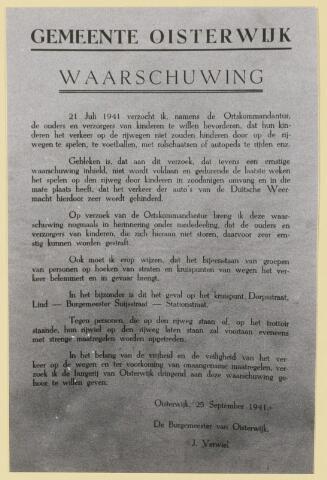 077393 - Tweede wereldoorlog Waarschuwing van de burgemeester van Oisterwijk aan de bevolking.