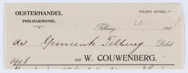059872 - Briefhoofd. Nota van Oesterhandel,Philharminie W. Couwenberg. voor de gemeente Tilburg