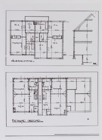 042199 - Volkshuisvesting. PLattegrond van een moderne woning zoals die werden gebouwd in de nieuwe wijk Zorgvlied