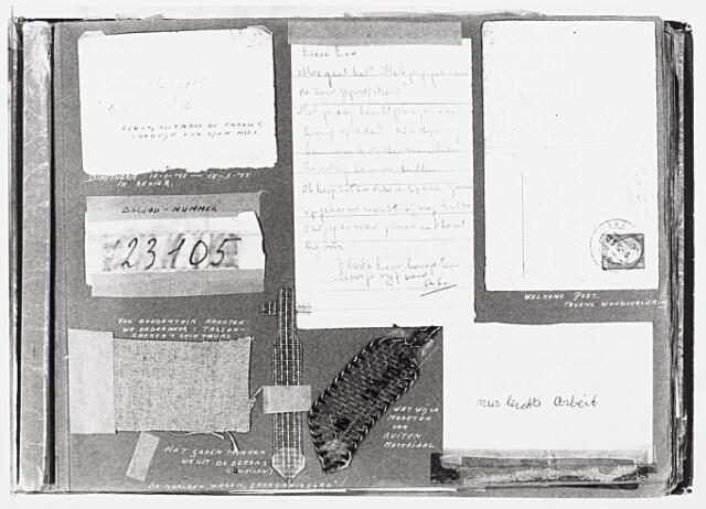 013674 - Tweede Wereldoorlog. Verzet. Pagina uit het album van Leonie van Harssel. Linksmidden haar nummer in Dachau en daaronder enkele dingen die de gevangenen maakten van dingen als beddentijk en glas