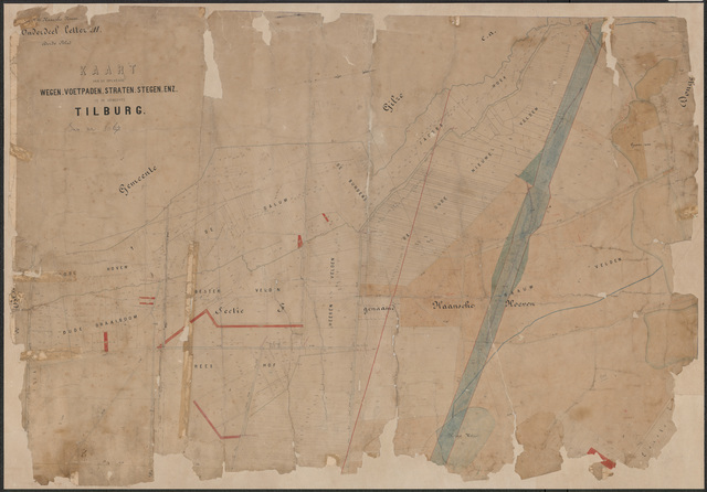 652651 - Wegenlegger. Kaart van de openbare wegen, voetpaden, straten, stegen, etc. Tilburg, Sectie F (Haansche Hoeven), blad 3. Schaal 1:5000. Ongedateerd.