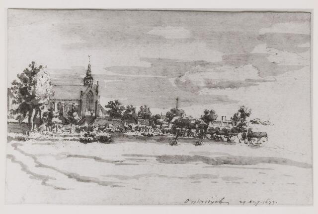 073338 - Getekende afbeelding van de kerk van Oisterwijk (nu Petruskerk) en directe omgeving.