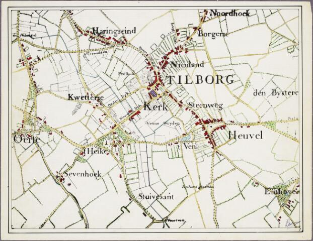 krnt_1 - Kaart. Detail van de manuscriptkaart van de heerlijkheid Tilburg en Goirle uit 1760 van de hand van Diederik Zijnen.  Nagetekend door L. Langeweg, ingekleurd door R. Peeters. Tilburg Centrum.