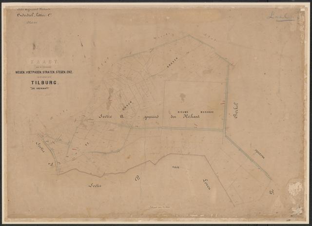 652636 - Wegenlegger. Kaart van de openbare wegen, voetpaden, straten, stegen, etc. Tilburg, Sectie A (Heikant), blad 5, ongedateerd.