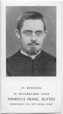 604776 - Pater Henri Rutten, 1873 (Tilburg)-1904(Nieuw Pommeren/Papoea Nieuw Guinea). Hij was, in 1890,  een van de eerste leerlingen van het nieuwe seminarie aan de Bredaseweg. Al op 26-jarige leeftijd bouwde Henri Rutten zijn eigen missiepost op Papoea Nieuw Guinea. In 1904 werd hij daar vermoord. Motieven en achtergrond zijn niet geheel duidelijk. Hij is met veel eer begraven door zin parochianen. Hij was een van de '' Tien martelaren van Bainingen.