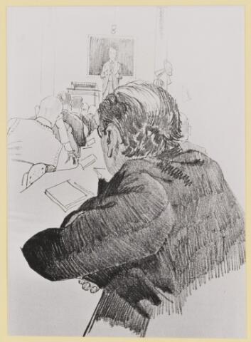 077464 - Tweede wereldoorlog 1940-1945. Foto van een tekening: Lezing om kennis uit te wisselen in het gijzelaarskamp te Haaren.