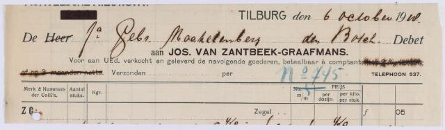 061456 - Briefhoofd. Nota van Jos van Zandbeek - Graafmans, Electrische smederij van kachels, haarden, sloten en zonneschermen, Korvelsche 116 voor gebr. Mackelenberg te Den Bosch