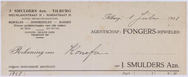 061134 - Briefhoofd. Nota van J. Smulders Azn, smederij en rijwielen, Nieuwlandstraat 16 voor Komefa te Tilburg