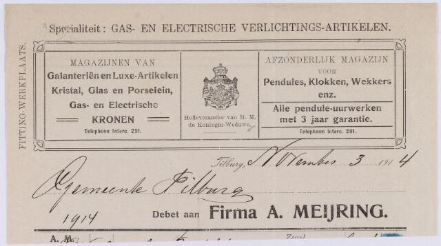 060746 - Briefhoofd. Nota van Firma A. Meijring voor de gemeentye Tilburg