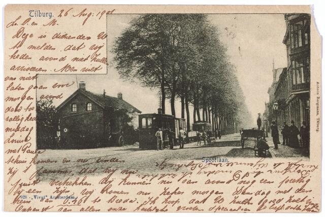 002157 - Openbaar vervoer. Spoorlaan richting Heuvel ter hoogte van de Langestraat. Links een tramstel.