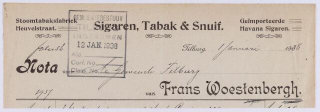 061439 - Briefhoofd. Tabaksindustrie. Nota van Frans Woestenbergh, stoomtabaksfabriek, Heuvelstraat 101 voor de gemeente Tilburg.