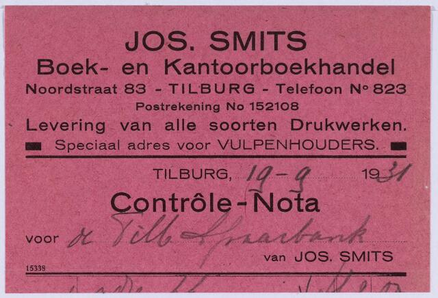 061116 - Briefhoofd. Nota van Jos Smits Boek- en Kantoorhandel, Noordstraat 83 voor de Tilburgse Spaarbank