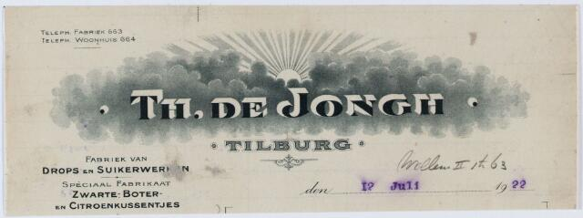 """060414 - Briefhoofd. Briefhoofd van """"Th. de Jongh"""" """"Tilburg"""", Willem-II-straat 63, fabriek van drops en suikerwerken"""