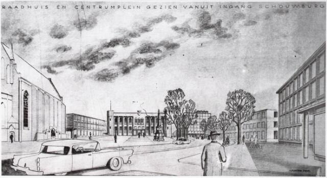 032541 - Tekening. Perspectieftekening van het Stadhuisplein door A.Komter 1960 gezien vanuit de ingang Schouwburg (Zuidelijke City-ring)