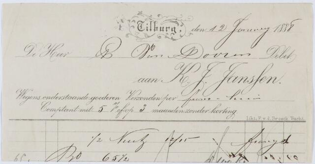 060363 - Briefhoofd. Nota van K.J. Janssen aan P. van Doorn te Tilburg