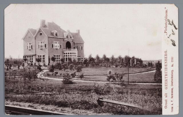 """058132 - Villa Pinksterbloem. Nu ligt de villa geheel verscholen achter het groen; Mr. Herman Allard liet in 1902 op een stukje polderland, gelegen op de Pinsterbloem in de Emiliapolder, een fraai landhuis bouwen; hij gebruikte daarvoor de eerste stenen die op zijn steenfabriek """"De Donge"""" werden gebakken. Het landhuis is een ontwerp van architect J. van Straaten en ontleent de naam aan het poldergedeelte, waarin het gebouwd is"""