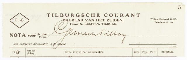 060612 - Briefhoofd. Nota van Tilburgsche courant , dagblad van het zuiden, firma N. Luijten, Tilburg voor de gemeente Tilburg