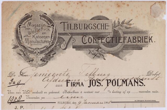 060920 - Briefhoofd. Nota van Firma Jos. Polmans Tilburgsche confectiefabriek voor de gemeente Tilburg