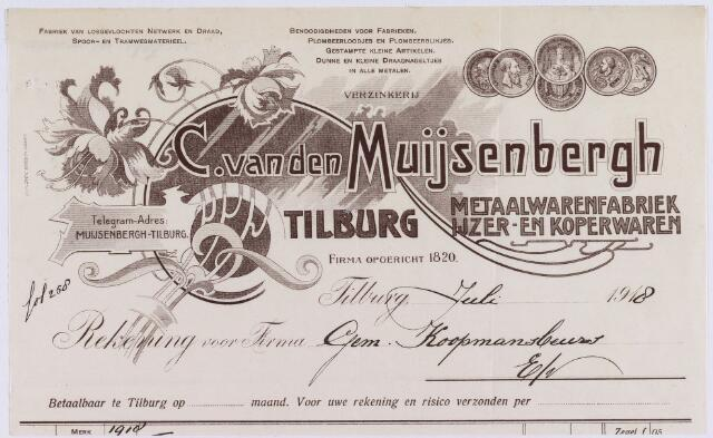 060798 - Briefhoofd. Nota van C. van den Muijsenbergh-Tilburg, metaalwarenfabriek en ijzerwaren voor de gemeente Tilburg.